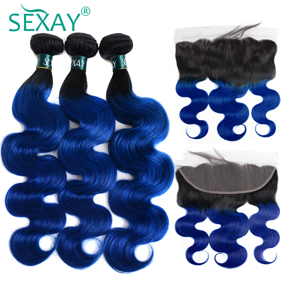 SEXAY 1B/Blue Colored Human Hair Bundles With Frontal Closures Pre Plucked Ombre Brazilian Body Wave Hair Extensions Non Remy