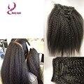 Elegante clipe reta kinky em extensões do cabelo 8-26 polegada 3 unidades/lotes 7A brasileiro virgem excêntricas ins clipe retas cabelo humano