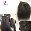Moda kinky clip recto en extensiones de cabello 8-26 pulgadas 3 unids/lote 7A brasileño de la virgen kinky recta clip de ins cabello humano