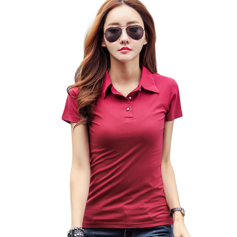 Summer Fashion Polo Shirt Women 2017 New Casual Short Sleeve Slim Polos Mujer Shirts Tops Plus Size Female Cotton Polo Shirt