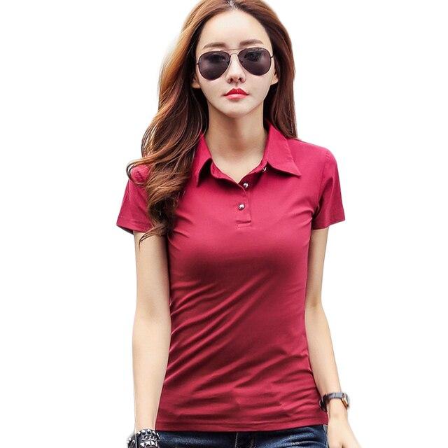 97bca6466ff Verano moda Polo camisa Mujer 2018 nuevo Casual manga corta Slim Polos  Mujer Camisetas talla grande