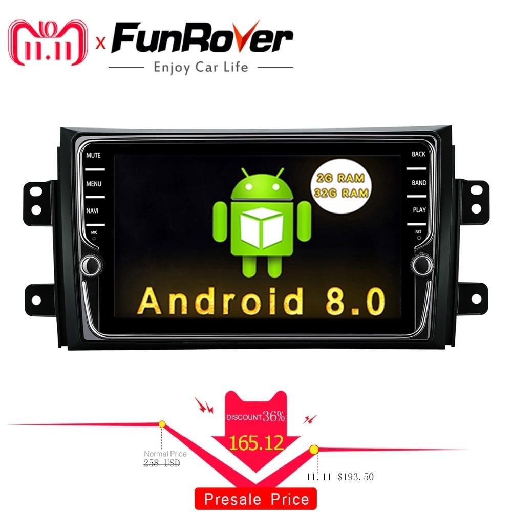 Funrover IPS אנדרואיד 8.0 dvd לרכב מולטימדיה נגן לסוזוקי SX4 2006-2013 ראש יחידת רכב רדיו GPS ניווט סטריאו 2 דין dvd