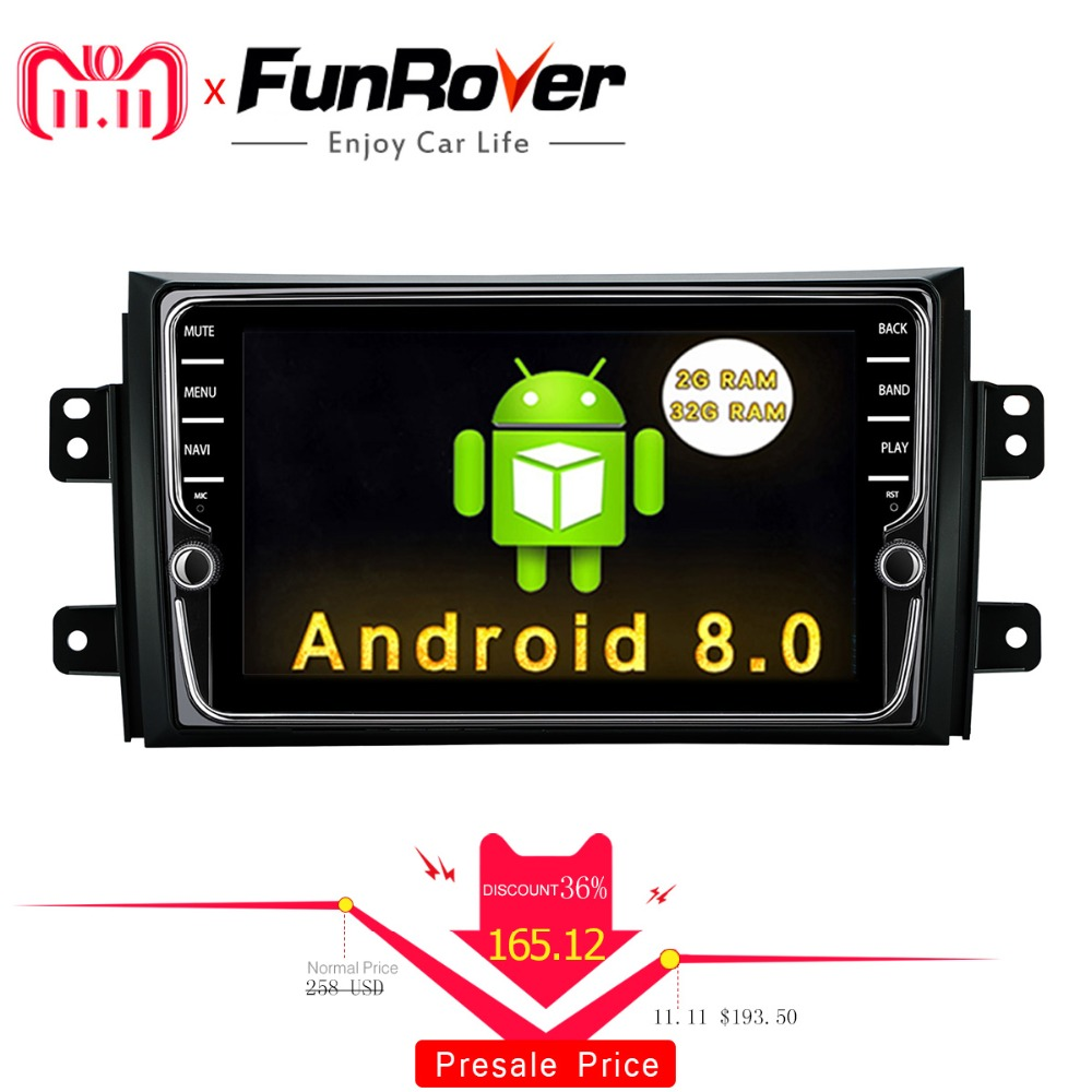 Funrover IPS Android 8.0 Car dvd multimedia Player for Suzuki SX4 2006 2013 head unit Car Radio GPS Navigation Stereo 2 din dvd