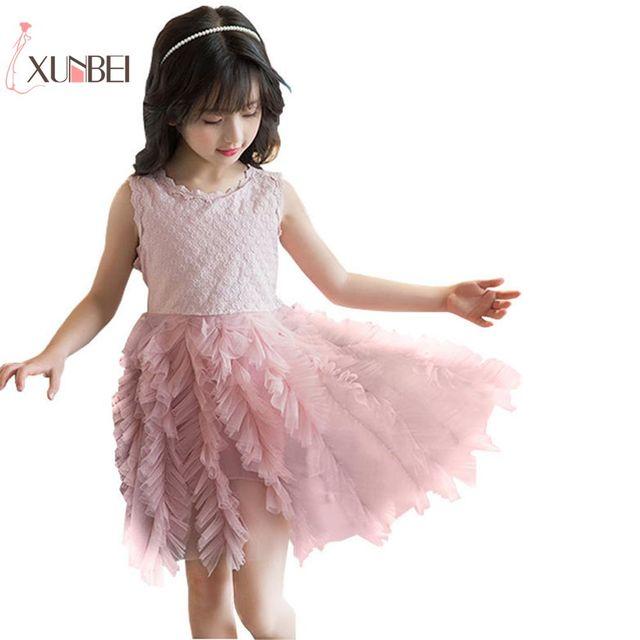 74463905d0d 2-6Y Knee Length Lovely White DusTulle Flower Girl Dresses 2019 Pageant Dress  Girls First Communion Dresses Kids Casual Dresses
