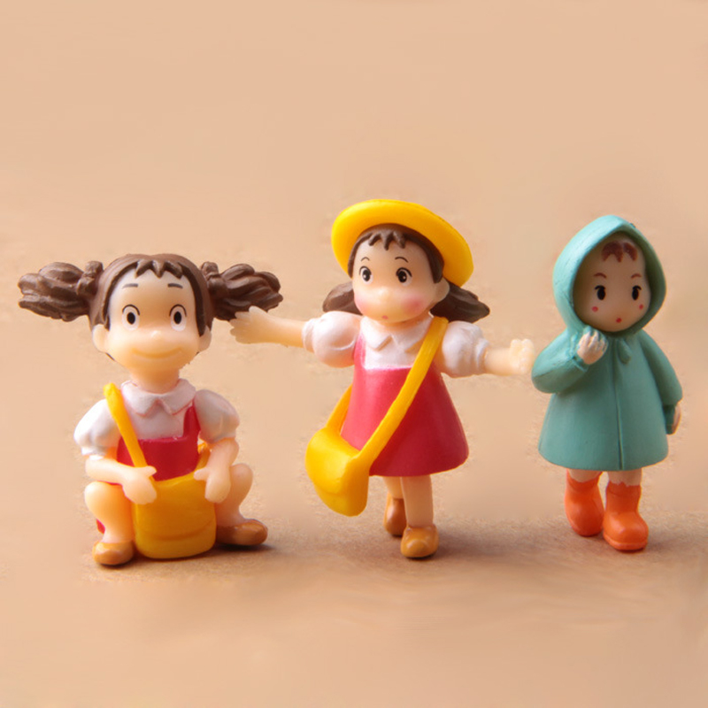 Studio Ghibli Miyazaki Hayao My Neighbor Totoro May PVC Action Figure DIY Mei Miniature Fairy Figurines Classic Toys 3pcs/lot