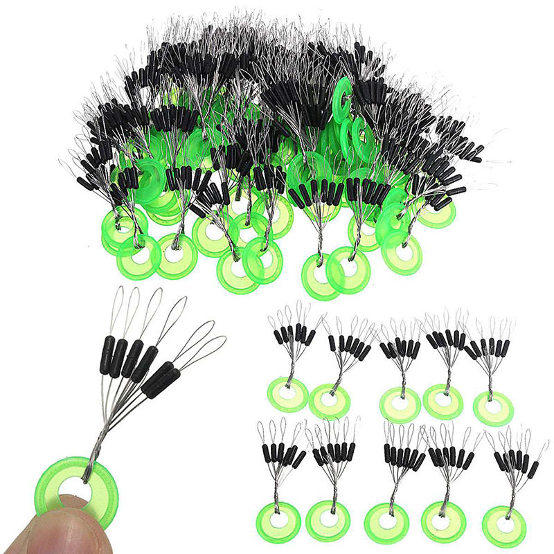 100 Pcs/lot Fishing Bobber Float Black Rubber Oval Stopper Space Bean Connector S/ M/ L CarpFishing Line Tackle Accessories