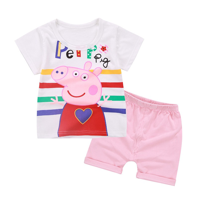 2PCS Kid Clothes Baby Boy Girl Clothes Toddler Girls Summer Clothing Set 2018 Kids Cute Cotton Cartoon Clothes Suit new cotton toddler girls clothing sets kids clothes summer cartoon baby girl t shirt overalls suit costume with suspender shorts