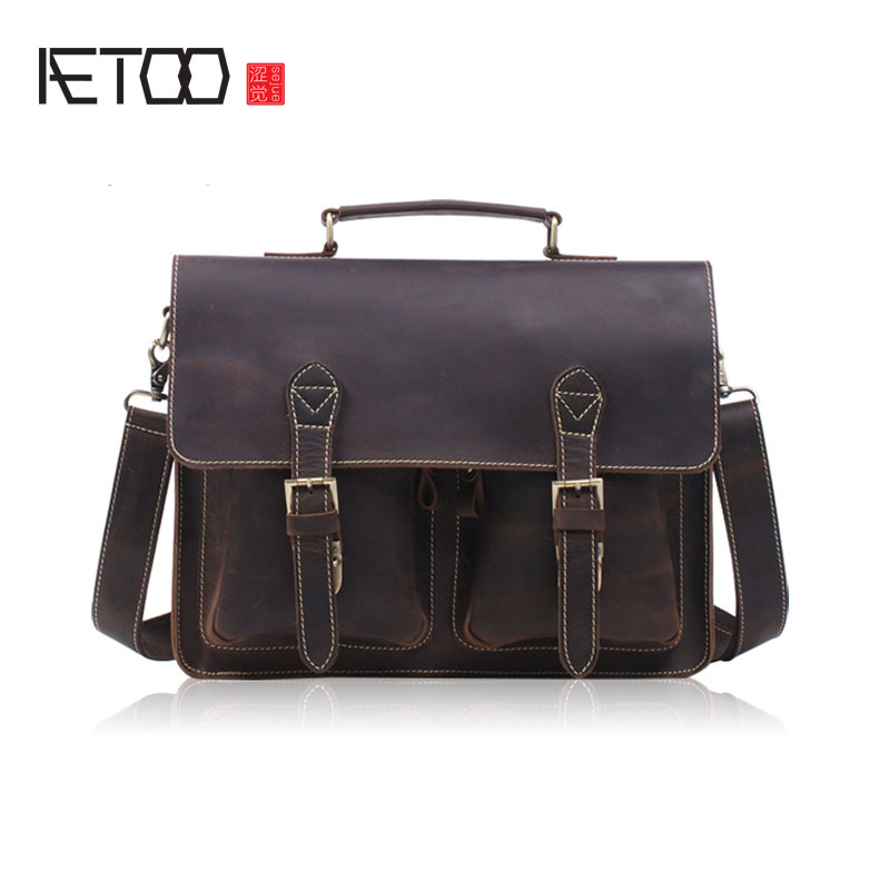 AETOO fashion crazy horse leather portable briefcase hand first layer of cowhide shoulder oblique cross computer bag aetoo new first layer of leather men s shoulder bag leather male package cross section oblique cross bag japanese and korean ver