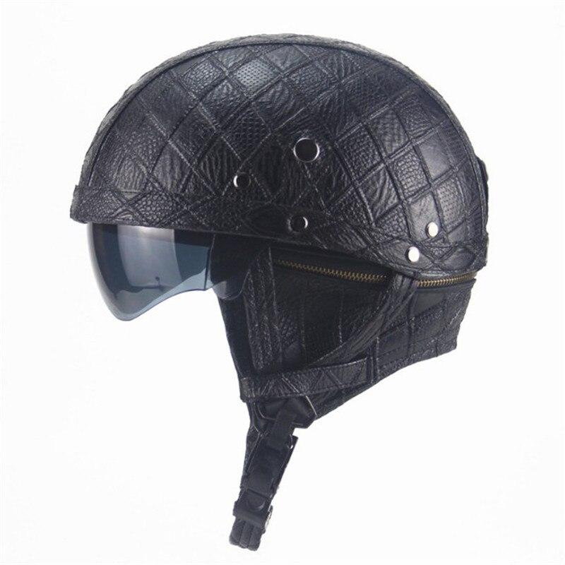 High Quality Motocross Helmet Pu Leather Half Face Motorcycle Black Brown Harley Motor Qp50315
