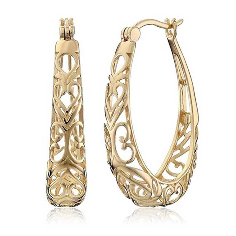 Nowości unikalne wykwintne rzeźbione wydrążone 585 różowe złoto zwisają duże kolczyki kobiety wesele grzywny Trendy biżuteria