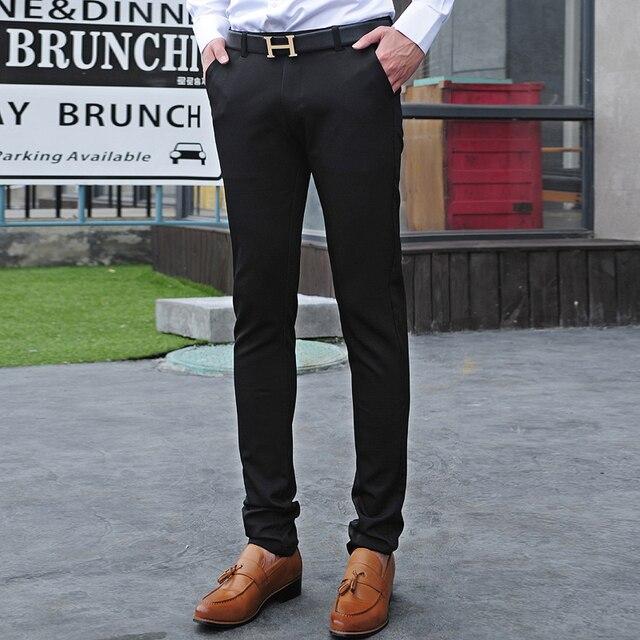 Fashion Mens Clothing Sale Solid Color Skinny Slim Fit Black Dress