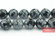 Frete grátis pedra natural facetado floco de neve obsidiana contas 4 6 8 10 12mm, para fazer jóias diy pulseira fsob02