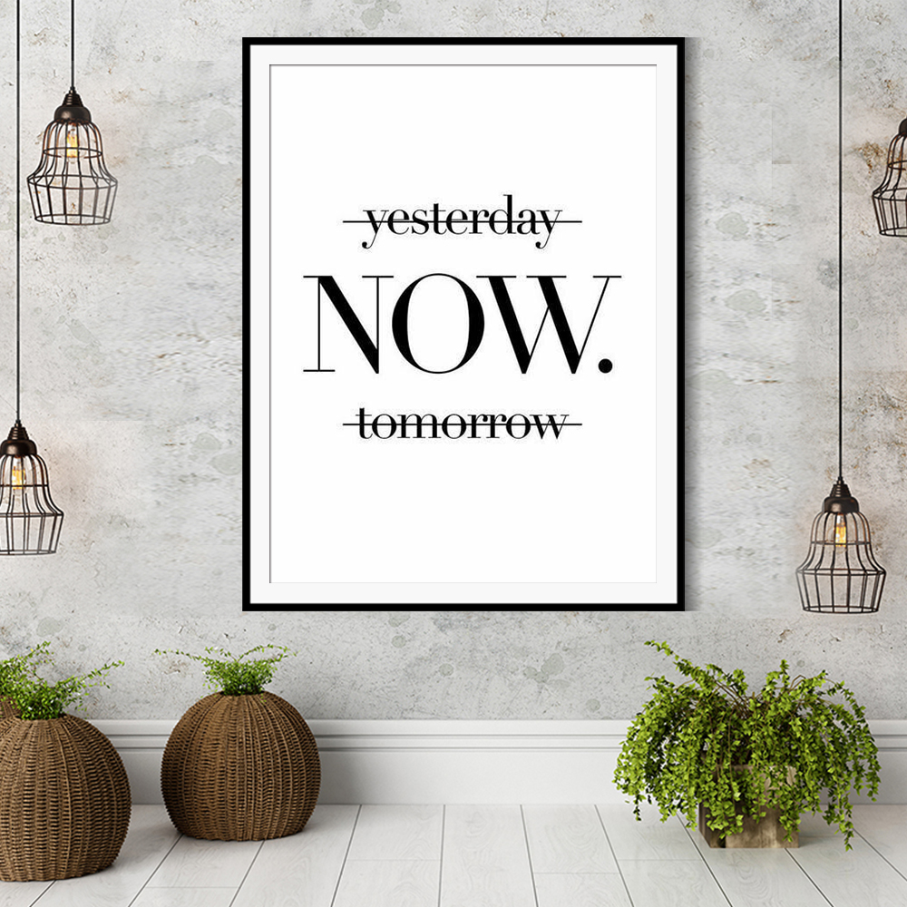 Yesterday Now Tomorrow Wall Pictures For Living Room Black And White Minimalist Wall Art Wall Art Poster Canvas Painting