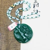 Zheru Jewelry Pure Natural Jasper Fine Hibiscus Plum Pendant Tricolor Jadeite Bead Necklace Send Class A Certificate