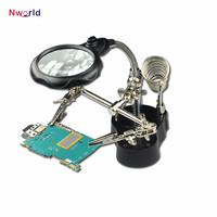 Desk Magnifier Lamp 3 5x 12x Third Hand Iron Stand Soldering LED Illuminated Magnifying Glass Loupe