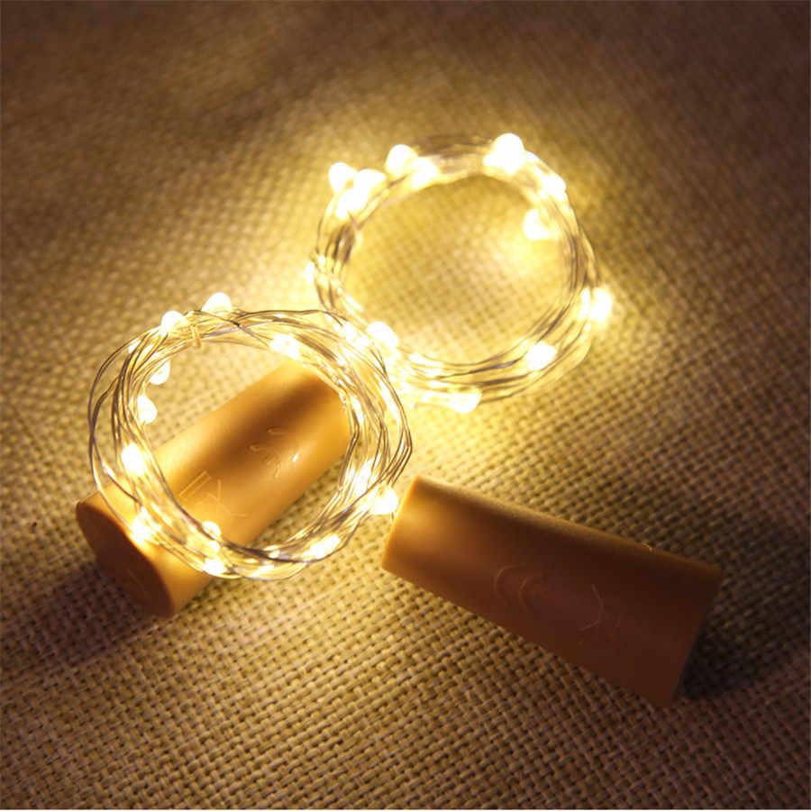 BEIAIDI 2 M 20 Led Filo di Rame Stringa di Luce Vino FAI DA TE bottiglia Sughero Tappo Fata Garland Per Il Natale Festa di Nozze di Vacanza Decor