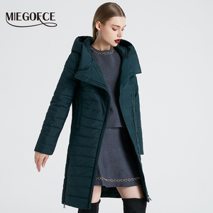 Image 2 - MIEGOFCE 2020 אביב נשים מעיל עם עקומת רוכסן נשים מעיל גבוהה איכות דק כותנה מרופדת מעיל נשים של חם Parka מעיל