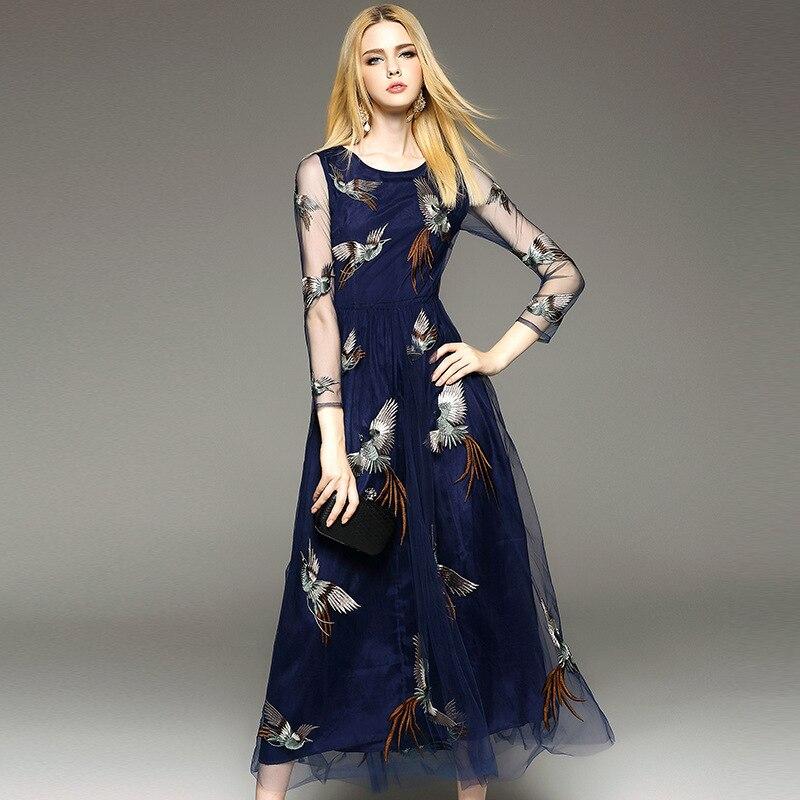 Nouveau 2016 printemps été marque piste mode broderie maille pure longue robe animal Phoenix élégant bleu marine maxi robes