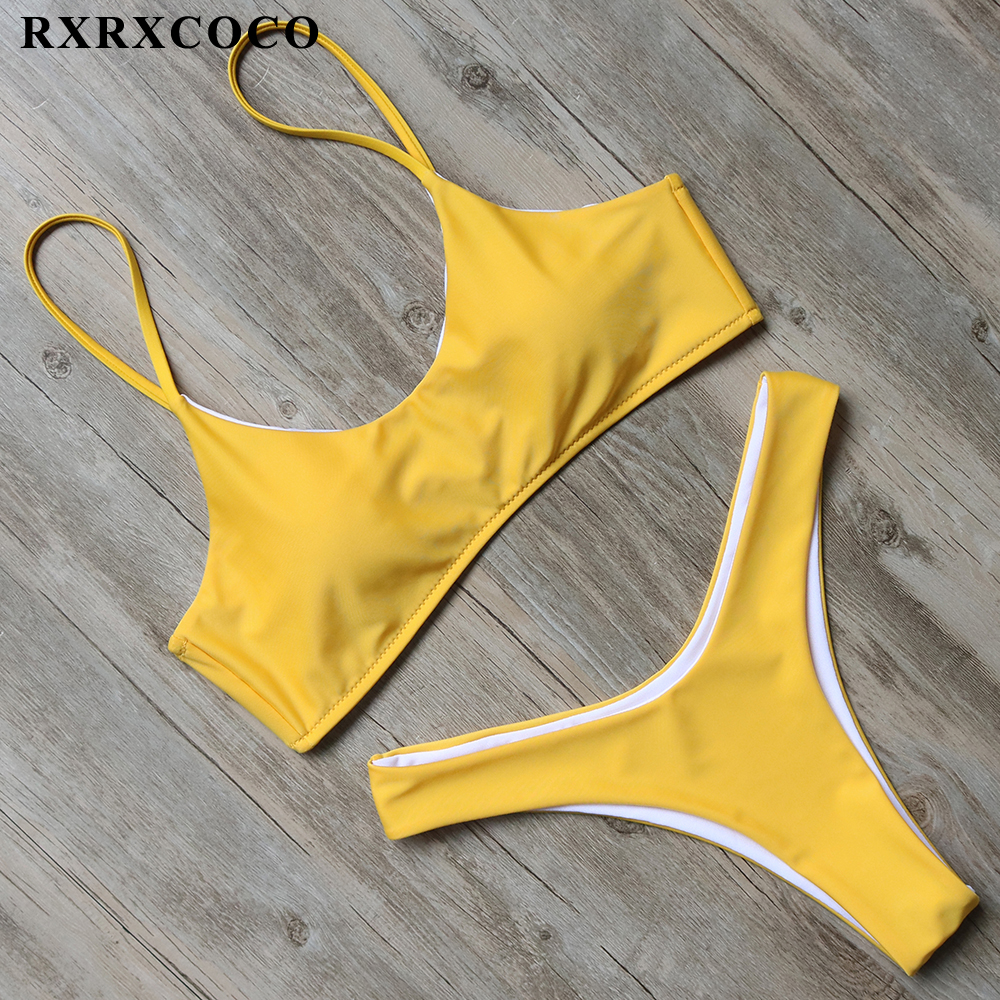 RXRXCOCO 2018 New Sexy Thong Bottom Swimwear Women Bikinis Set Bandage Bathing Suit Push Up Brazilian Bikini Backless Swimsuits push up 2018 may women beach bandage bikini set swimwear female sexy brazilian bikinis swimsuits biquini bather bathing suit