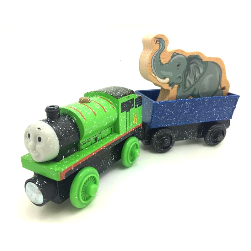 free shipping RARE Snow percy + elephant train Thomas And Friends Wooden Magnetic Railway Model Train Engine Children track Toy