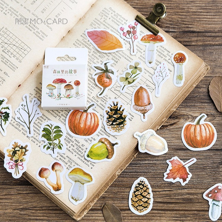 46PCS/box New Cute The Story In The Forest Paper Lable Stickers Crafts And Scrapbooking Decorative Lifelog DIY Cute Stationery