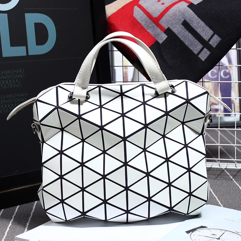 Unisex Briefcases Hot Fashion Preppy Style Women s Totes and Shoulder Bag Geometric Lattice SAME AS