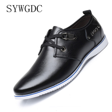 SYWGDC Men Casual Shoes Fashion Leather for Summer Lace Up Mens Flats Dropshipping Big Size 38-46