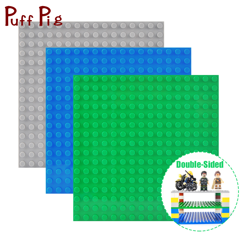 16*16 Dots Double-sided Base Plates For Bricks Classic DIY Baseplate Compatible Legoe City Figures Children Building Blocks Toys new big size 40 40cm blocks diy baseplate 50 50 dots diy small bricks building blocks base plate green grey blue