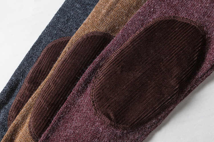 Ретро свитер японский стиль Зимний пуловер для мужчин 2018 мужской бренд повседневные шерстяные свитера мужские вельветовые патч дизайн мужской свитер