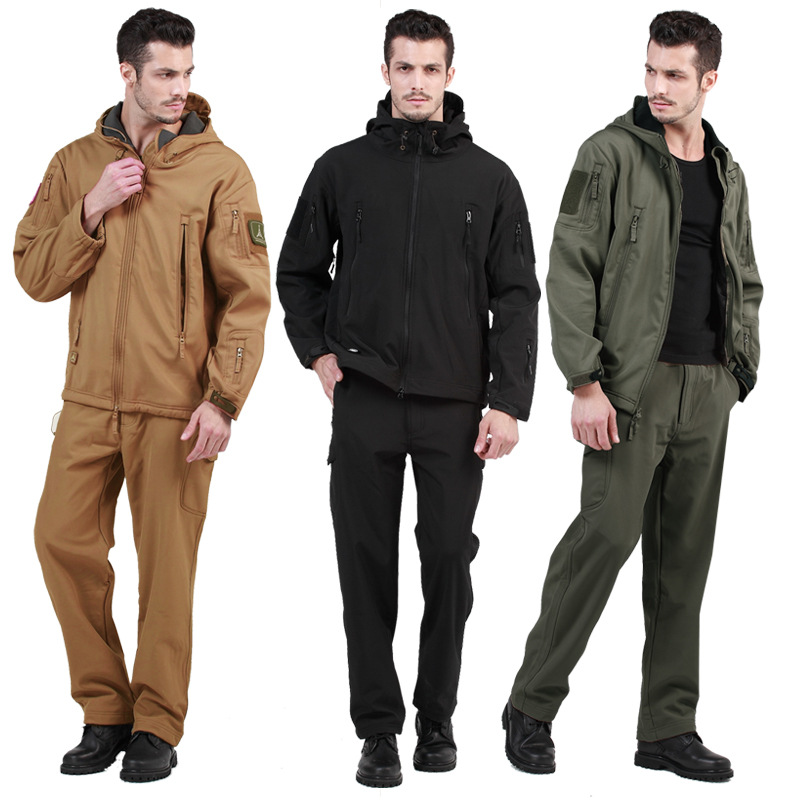 Tactical Softshell TAD Camouflage Suits Outdoors Army Sport Waterproof Hunting Shooting Clothes Military Jacket + Pants shark skin softshell tactical military camouflage pants men winter army waterproof warm fleece sport camo hunting outdoor pants