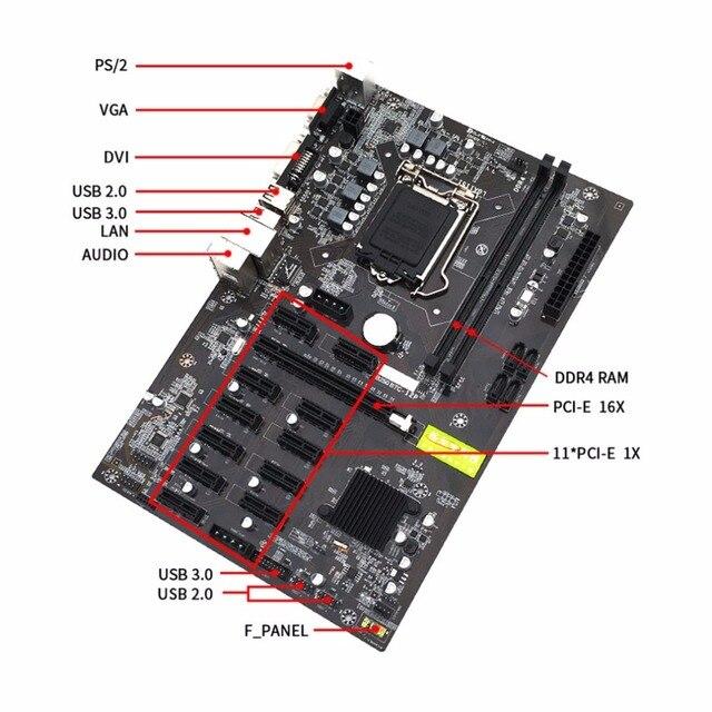 Placa de mineração Mineração B250 Motherboard Interface De Placa de Vídeo Suporta GTX1050TI 1060TI Projetado Para Crypto de Mineração