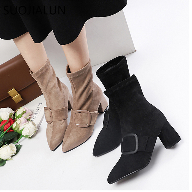 SUOJIALUN 2018  Fashion Ankle Elastic Sock Boots Chunky High Heels Stretch Women Autumn Sexy Boot Pointed Toe Buckle Ankle Boot