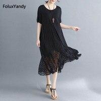 Modal Casual Dress Women Plus Size 5 XL Patchwork Short Sleeve Mid Calf Lace Summer Dress Black Vestidos NQYL23