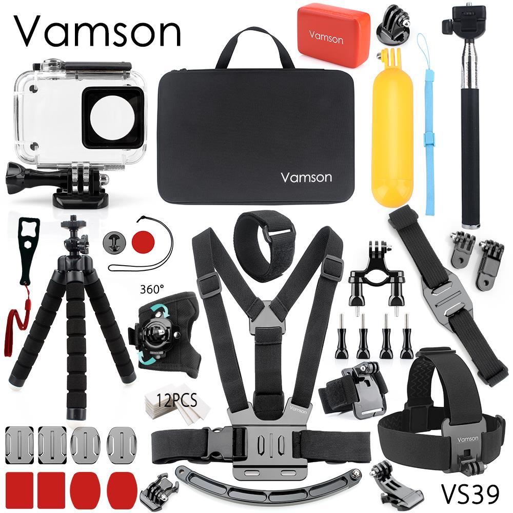 Vamson para Xiaomi para Yi accesorios carcasa impermeable caso esponja trípode de pulpo gran caja para yi 2 4 K Cámara de Acción VS39