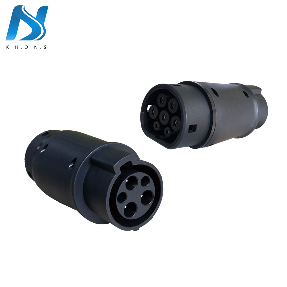 Wallbox EVSE Adaptor 32A Electric Vehicle Car EV Charger Connector SAE J1772 Socket Type 1 To Type 2 EV Adapter For Car Charging