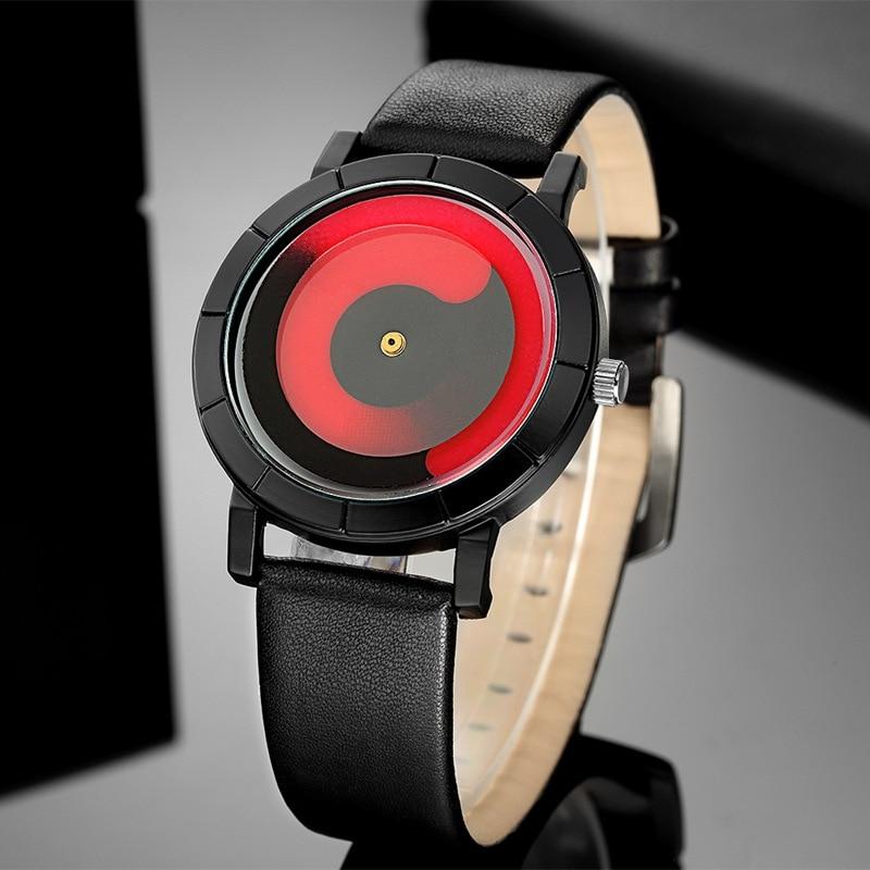 DIFONEY New Creative Vortex Pointer Men Watches Personalized Fashion Women Lovers' Quartz Watch Leather Band Ladies Wristwatch