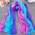 Nueva llegada 2017 de lujo de las señoras de colores del arco iris suave bufanda de seda chales foulard femme summer beach wrap echarpe bandana z1