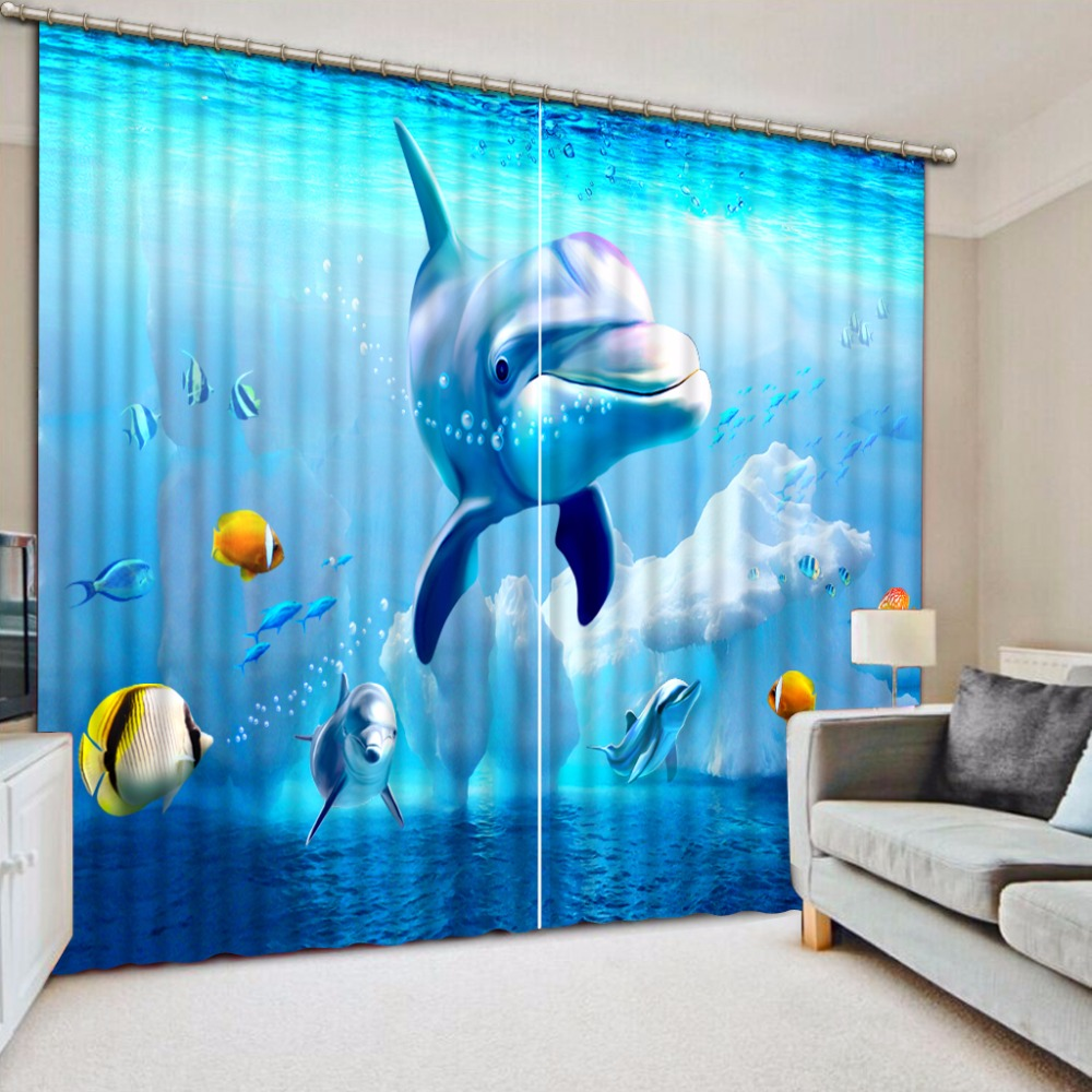 Customize buyer size Store blue curtains kids curtains for bedroom Underwater World Dolphin Iceberg scenery curtains printed window curtains
