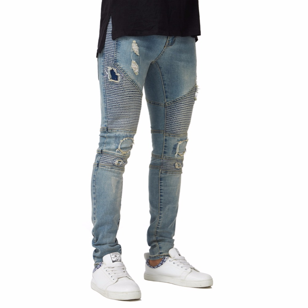 2018 New Men's Ripped Biker Skinny   Jeans   Stretch Elastic Fashion Pencil   Jeans