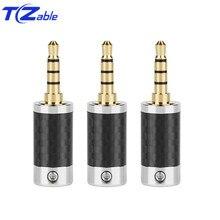 2.5mm 3.5mm Hifi לאוזניות הלחמה 3.5 4 קטבים זכר אודיו תקע סטריאו סיבי פחמן אוזניות מתאם מחבר איזון תקע