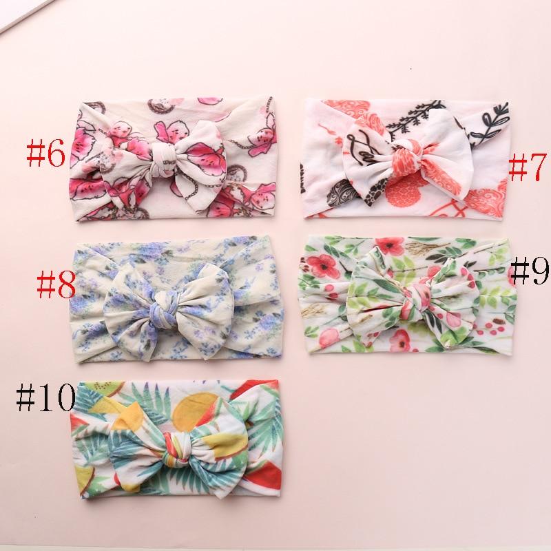 2019 New Newborn Kids Spring Color Soft Nylon Headbands Floral Print Knotted Hair Bow Headband Children