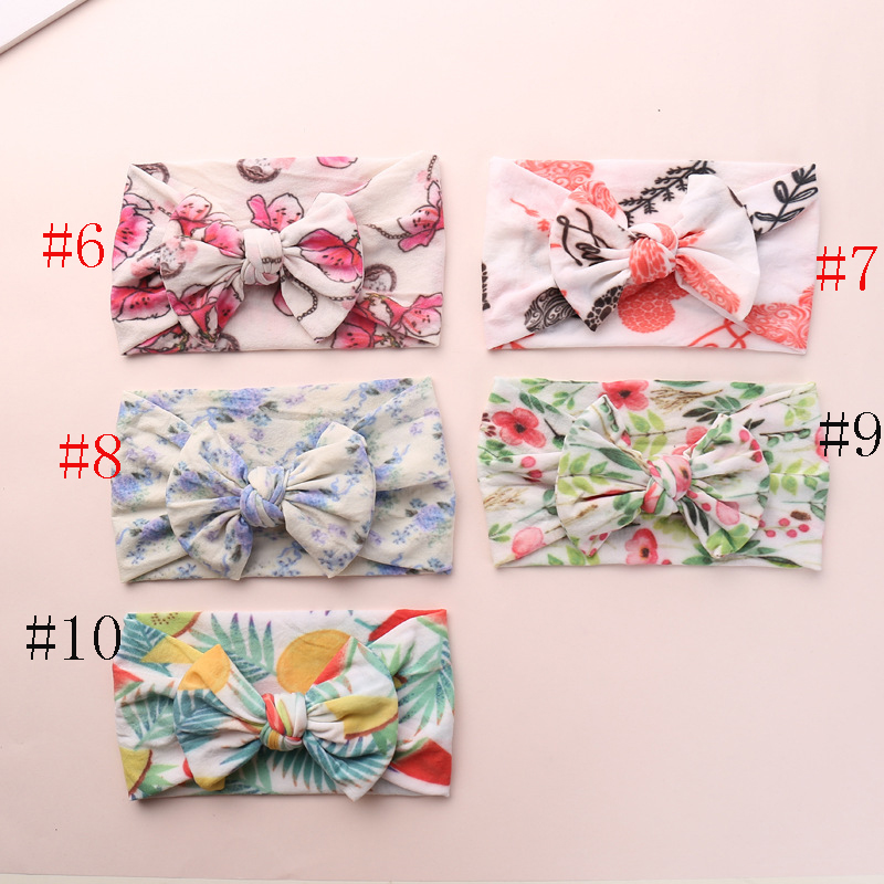 2019 New Newborn Kids Spring Color Soft Nylon Headbands,Floral Print Knotted Hair Bow Headband,Children Girls Headwear 24pc/lot-in Hair Accessories from Mother & Kids    1