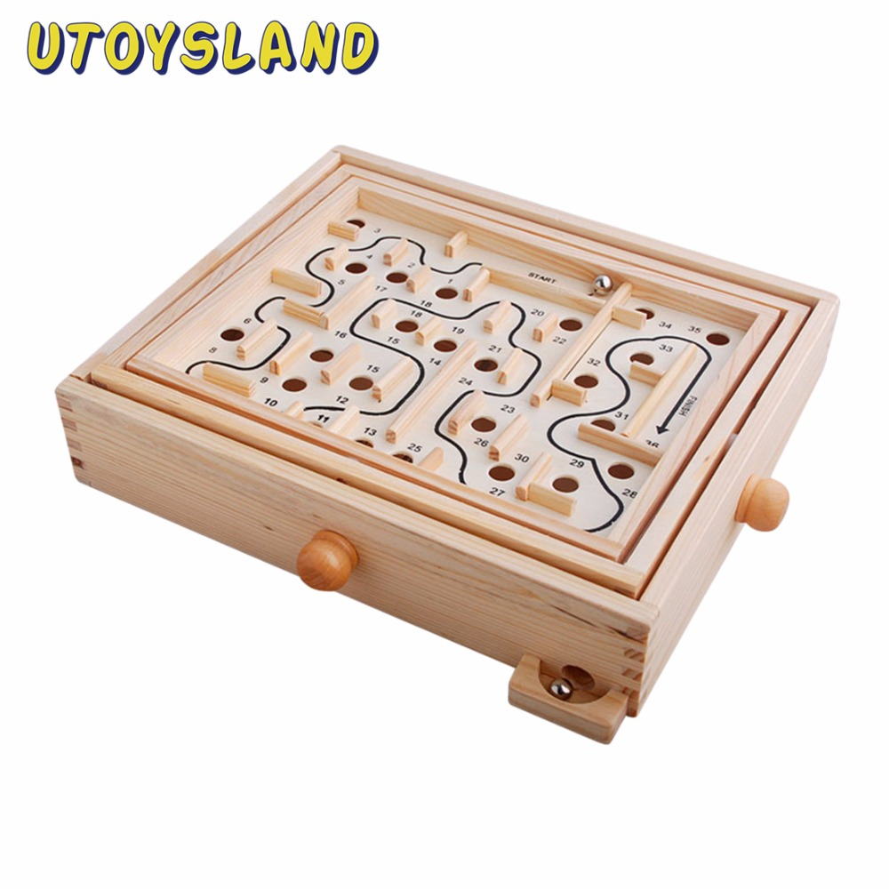 UTOYSLAND 36 Steps Steel Ball Track Labyrinth Maze Board Game Wooden Educational Toy for Kids Children MT5413 цена