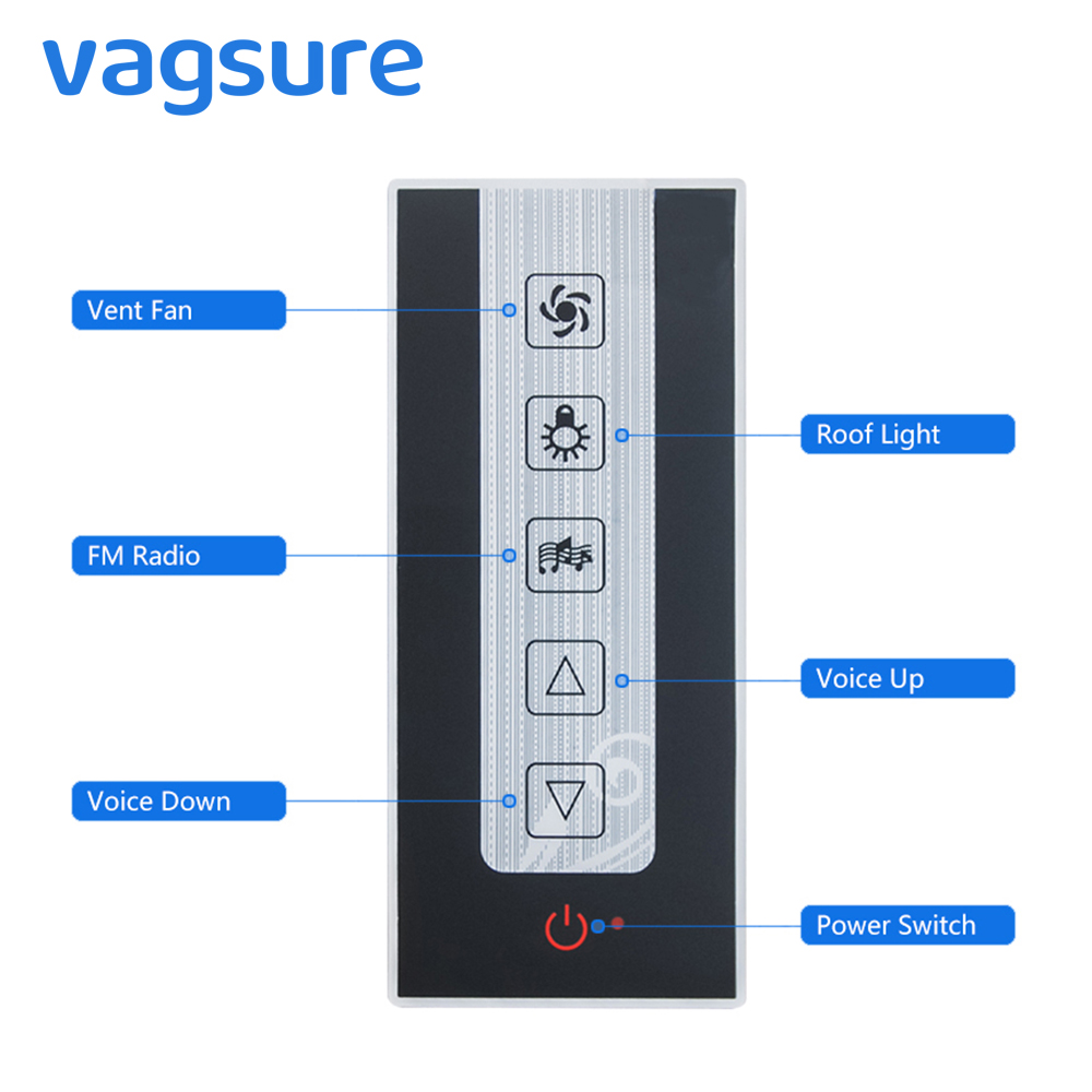 Vagsure 1pcs LCD Display Induction Controller Speaker Lamp FM Radio Vent Fan Shower Control for Shower