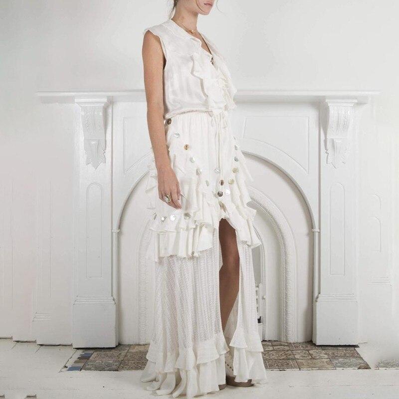 TWOTWINSTYLE Sommer Ärmellose Frauen Kleid V ausschnitt Hohe Taille Aushöhlen Rüschen Bandage Split Maxi Kleider Weibliche Elegante 2019-in Kleider aus Damenbekleidung bei  Gruppe 2