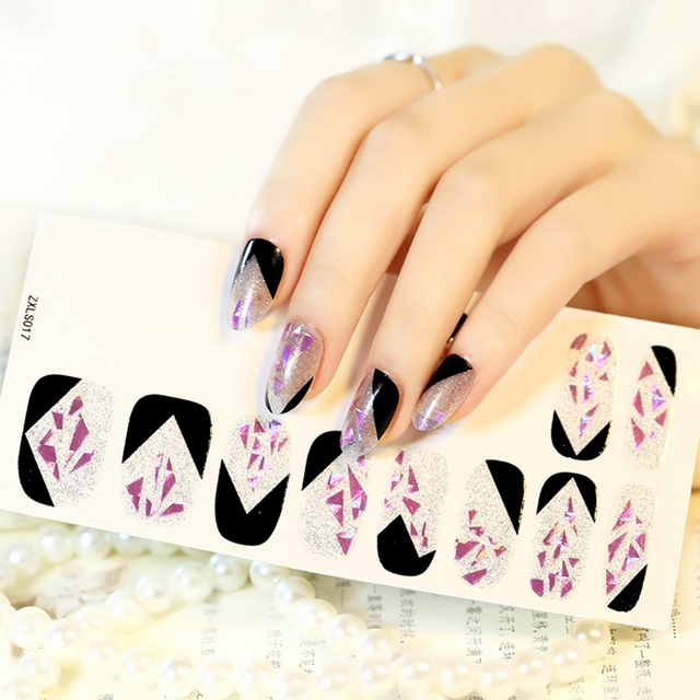 French Nails Design 3d Triangle Nail Art Tips Stickers Half Clear Black Purple Decal Acrylic