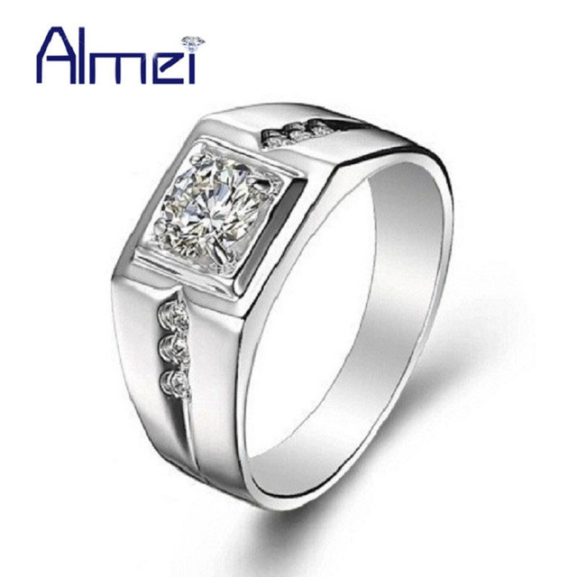 49% off Crystal Men Ring Silver Color Bijoux Bague Homme Man Jewerly Wedding Rings Nuevos Anillos Anel with CZ Zircon J473N