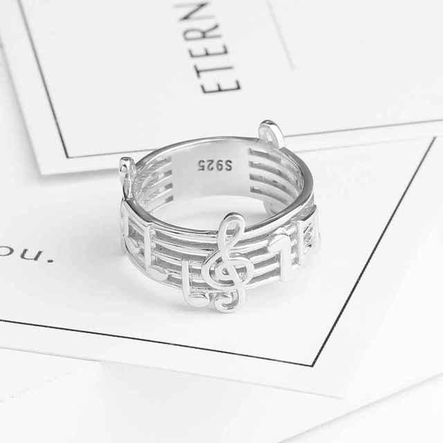 925 Sterling Sliver Rings for Women Musical Note Pattern Rings For Music Lover Trendy Silver Jewelry Fashion Gift (RI102767)