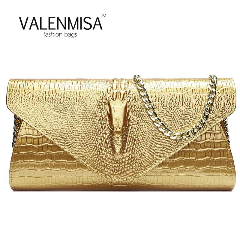 Women Genuine Leather Purses And Handbags Designer Brand Crossbody Bags For Women Clutch Bag Crocodile Bag Chain Envelope Wallet