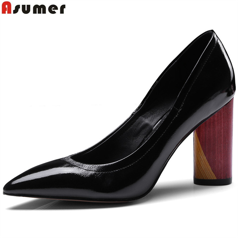 ASUMER shallow fashion spring autumn shoes woman pointed toe wedding shoes thick heel women genuine leather high heels shoes 2018 spring pointed toe thick heel pumps shoes for women brand designer slip on fashion sexy woman shoes high heels nysiani
